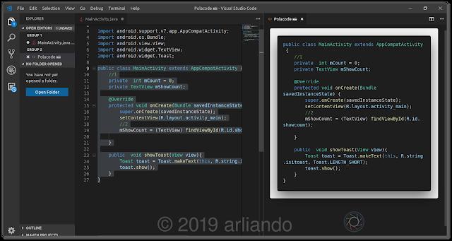 Mengambil Screenshot Syntax Pemrograman Menggunakan Visual Studio Code