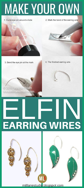 How to make elfin earring wires tutorial sheet.