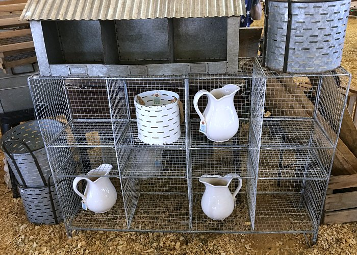 wire shelf, chicken feeder, white pitchers