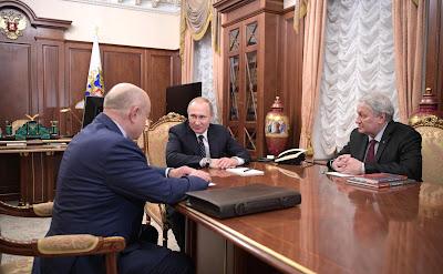 Vladimir  Putin, Mikhail Fradkov, Leonid Reshetnikov.