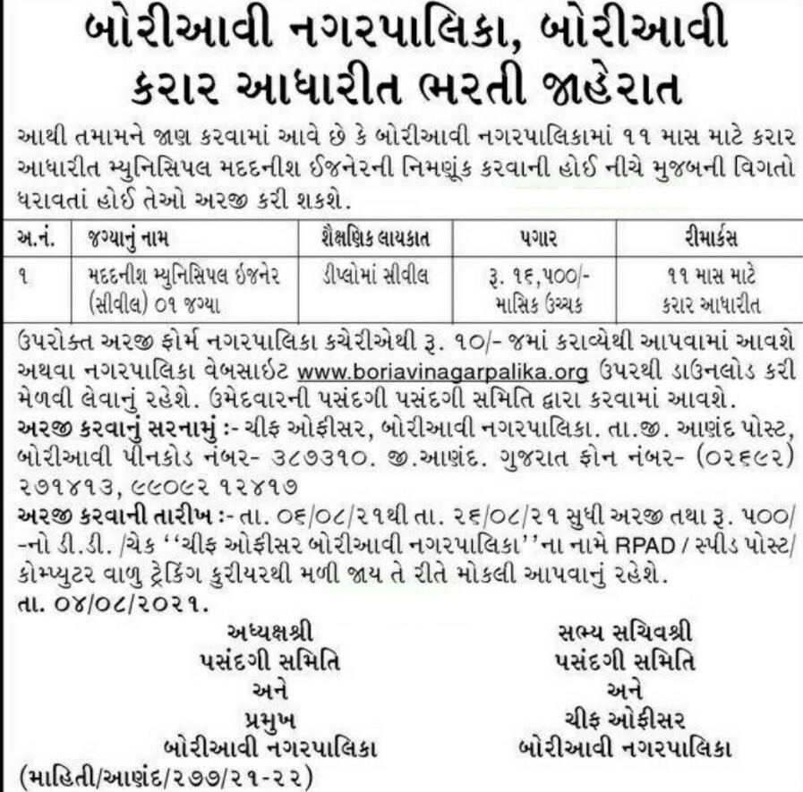 Boriavi Nagarpalika Recruitment 2021