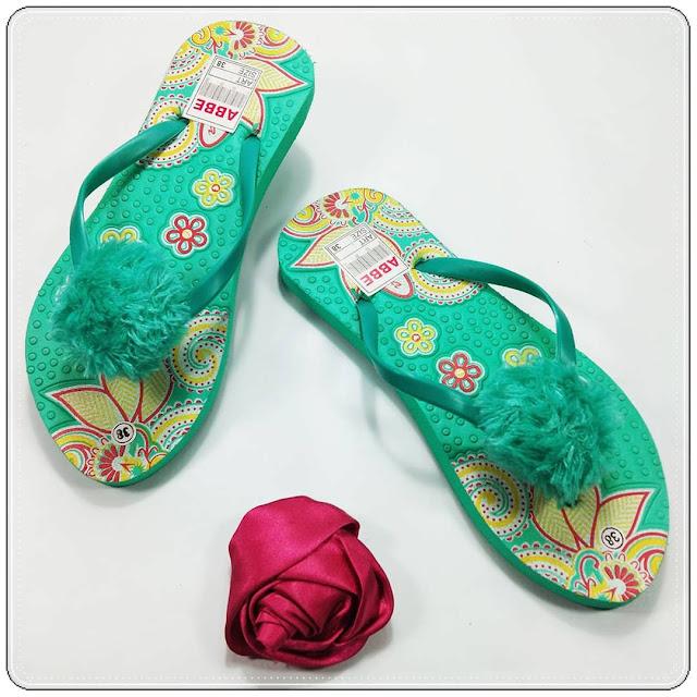 AB Sablon Bunga Pompom || Sandal Termurah dan Terlaris