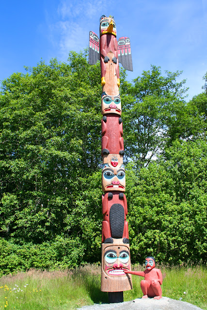 totem at saxman village, ketchikan, copyright Carl Dombek