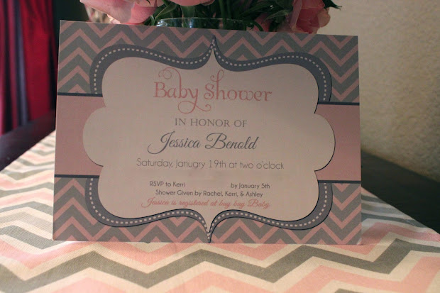 John And Rachel Pink & Grey Chevron Baby Shower