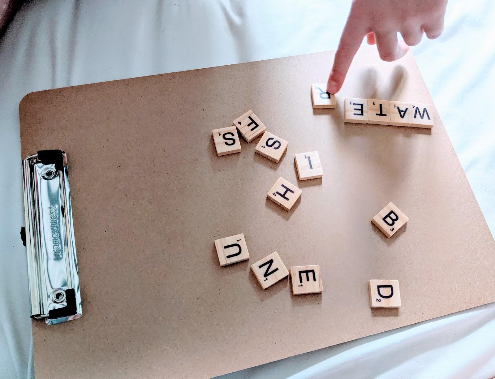 Scrabble tiles for spelling practice