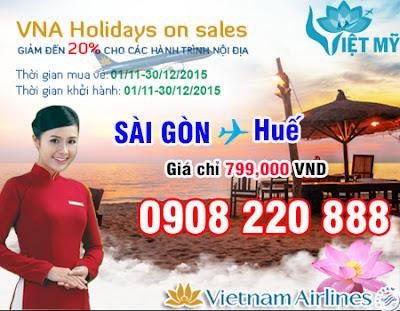 Vé máy bay đi Huế giá rẻ 699,000đ khuyến mãi Vietnam Airline