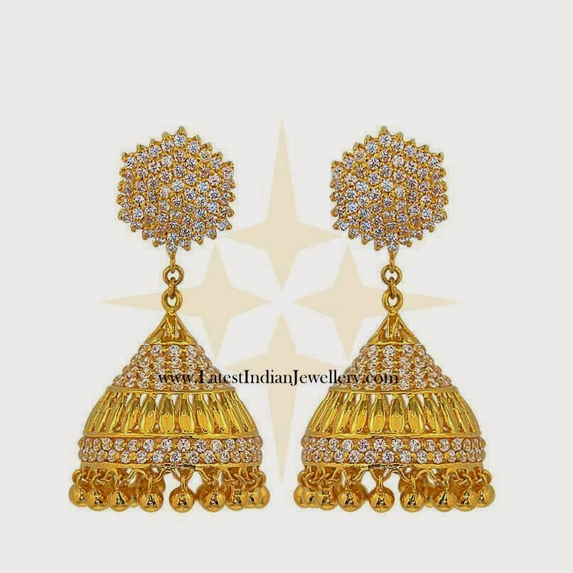 Gold white stone jhumki earrings