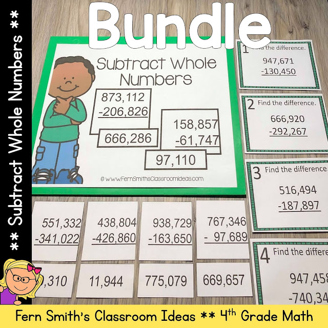 4th Grade Go Math 1.7 Subtract Whole Numbers Bundle #FernSmithsClassroomIdeas
