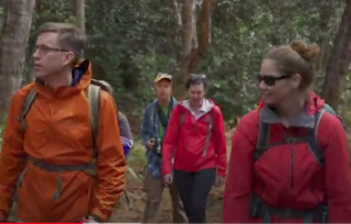 Mike Moore walking with others through forested area on Kaua'i