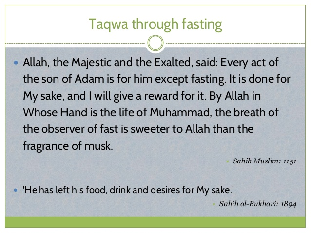 Taqwa through  Fastingin Islam