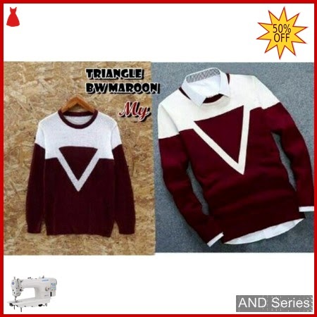 AND194 Sweater Pria Triangle Bw Merah Maroon BMGShop