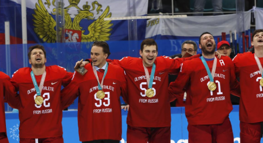 Russians sing banned anthem after beating Germany to gold