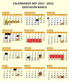 ESTE ES EL CALENDARIO DE LA SEP PARA ESTE CICLO ESCOLAR 2021-2022