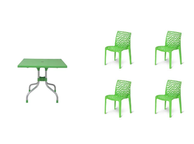 Supreme Olive 4 Seater Plastic Dining Table (Parrot Green) & Supreme Web Plastic Chairs for Home, Outdoor & Garden (Set of 4, Parrot Green) Combo