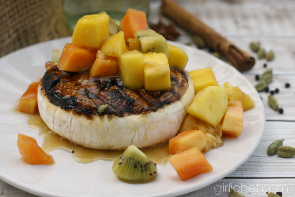 Grilled Brie with Tropical Fruit Compote