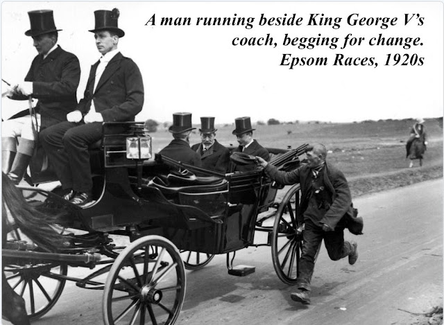 Photo of a beggar running alongside King George V's coach, Epsom Races in 1920s. Speak Your Mind and other stories of Grandmas and reason. marchmatron.com