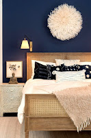 Bedroom accent wall with navy blue wall with wall art decoration