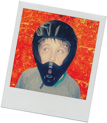 Boy Modellling Full Face Bike Helmet