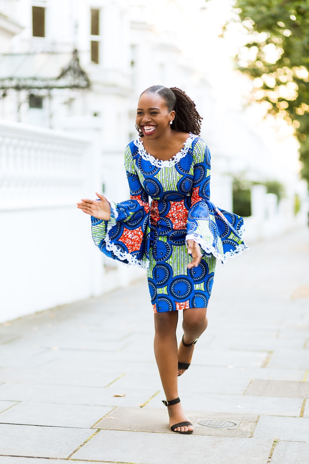 Ankara Dress with Bell Sleeves on Black Fashion Blogger