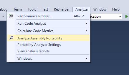 Menú Analyze Assembly Portability