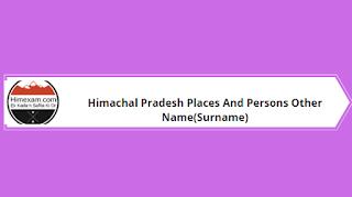 Himachal Pradesh Surname