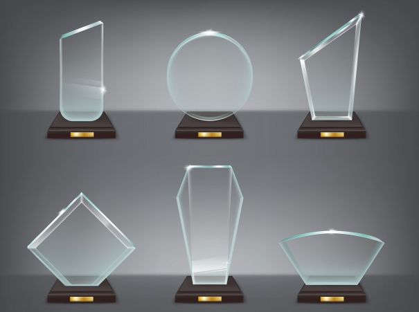 Illustration of modern glass trophies