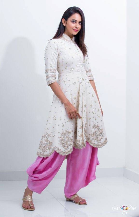 Indian Actress Rakul Preet Singh Stills In White Punjabi Dress