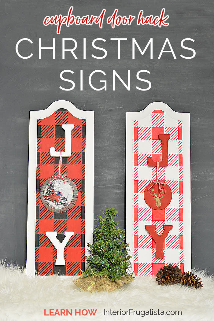 How to repurpose cabinet door panels into festive JOY Christmas Signs by Interior Frugalista and stenciled with rustic buffalo check plaid. Easy and affordable DIY Christmas decoration idea. #christmasdecorations #doorcrafts #festivechristmasideas