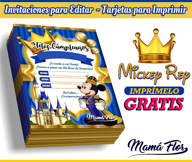 Invitaciones de Mickey Mouse Rey para Editar