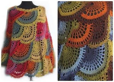 Poncho boho crochet semicírculos multicolor