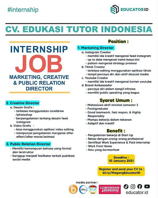 3 Lowongan Kerja Pegawai Educator ID Rembang CV. Edukasi Tutor Indonesia