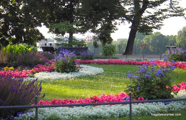 Jardim no Brühlsche Terrasse, Dresden, Alemanha