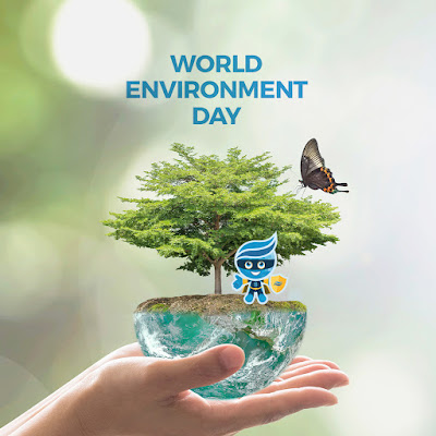 Poster featuring hands holding half of a globe that's doubling as a potted plant for a tree.  Image of a butterfly and Rio mascot Splash dressed as a sustainability superhero.
