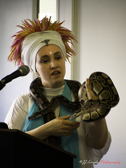 Kwali Kumara helps attendees overcome fear of snakes