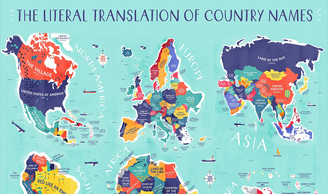 The literal translation of country names #infogaphic