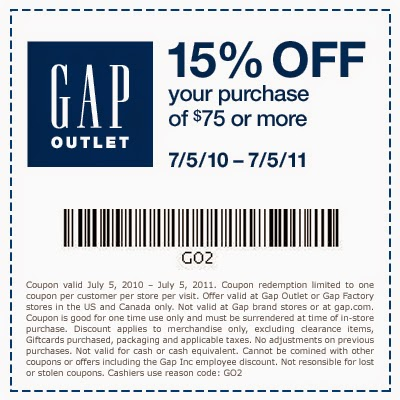gap coupons in store july
