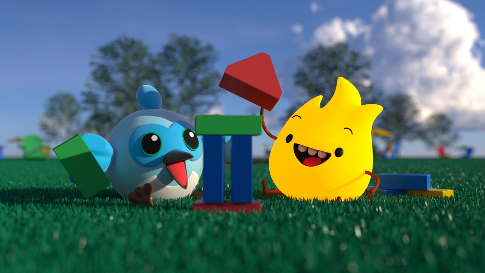 Animation of Sparky and Dash playing with blocks