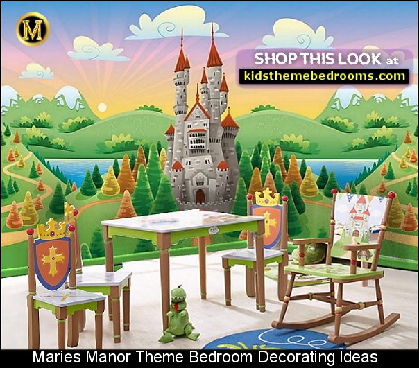 Knights and Dragons Table and chairs castle wall mural knights dragons bedroom decor