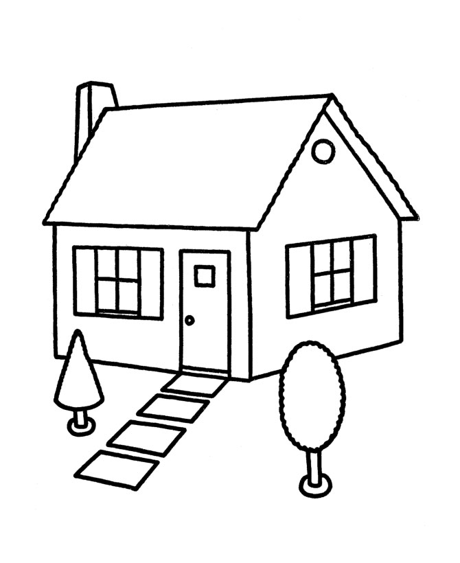 Coloring Page House Preschool | Coloring Page