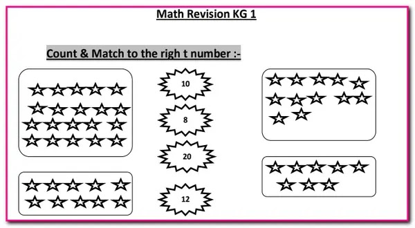 اوراق عمل تدريبات فى الرياضيات للمدارس الرسمية للغات Math Revision KG 1