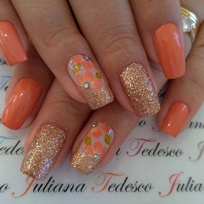 unhas decoradas laranja 11