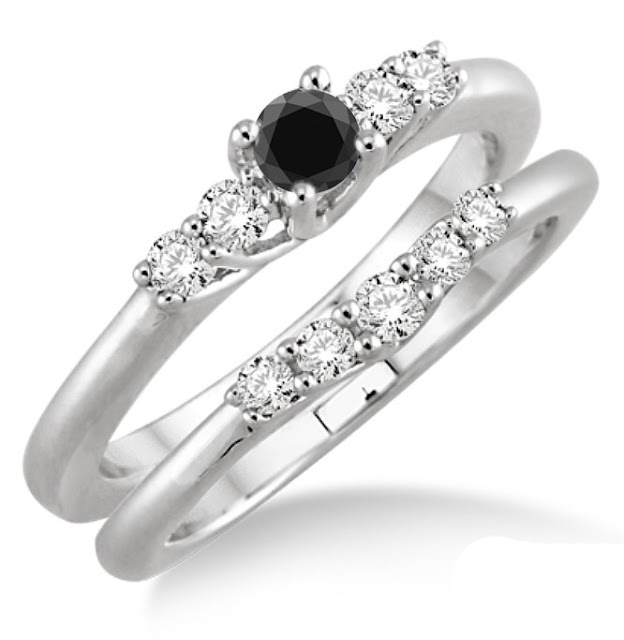 Cheap Black Diamond Wedding Ring Sets