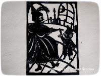 "силуэтная иллюстрация, Пратчетт, ""Ведьмы за границей"", Нянюшка Ягг, Казанунда, маскарад, бал, танец"