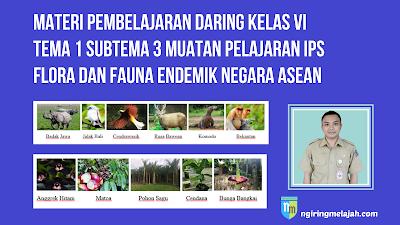 Materi IPS Kelas VI Tema 1 Subtema 3 - Flora dan Fauna Endemik Negara ASEAN