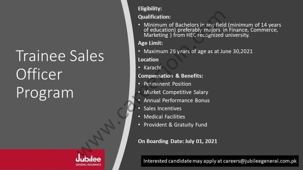 Jubilee General Insurance Company Ltd Latest Jobs 2021 For Trainee Sales Officer Program - Apply via careers@jubileegeneral.com.pk