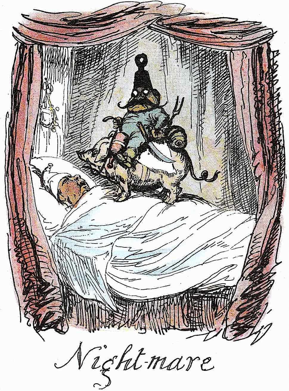 a George Cruikshank 1836 cartoon about bad dreams, night-mare