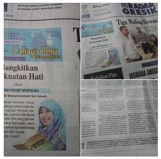 Tulisan Bu Dina Hanif Mufidah, M.Pd Kepala SD Muhammadiyah Giri Gresik