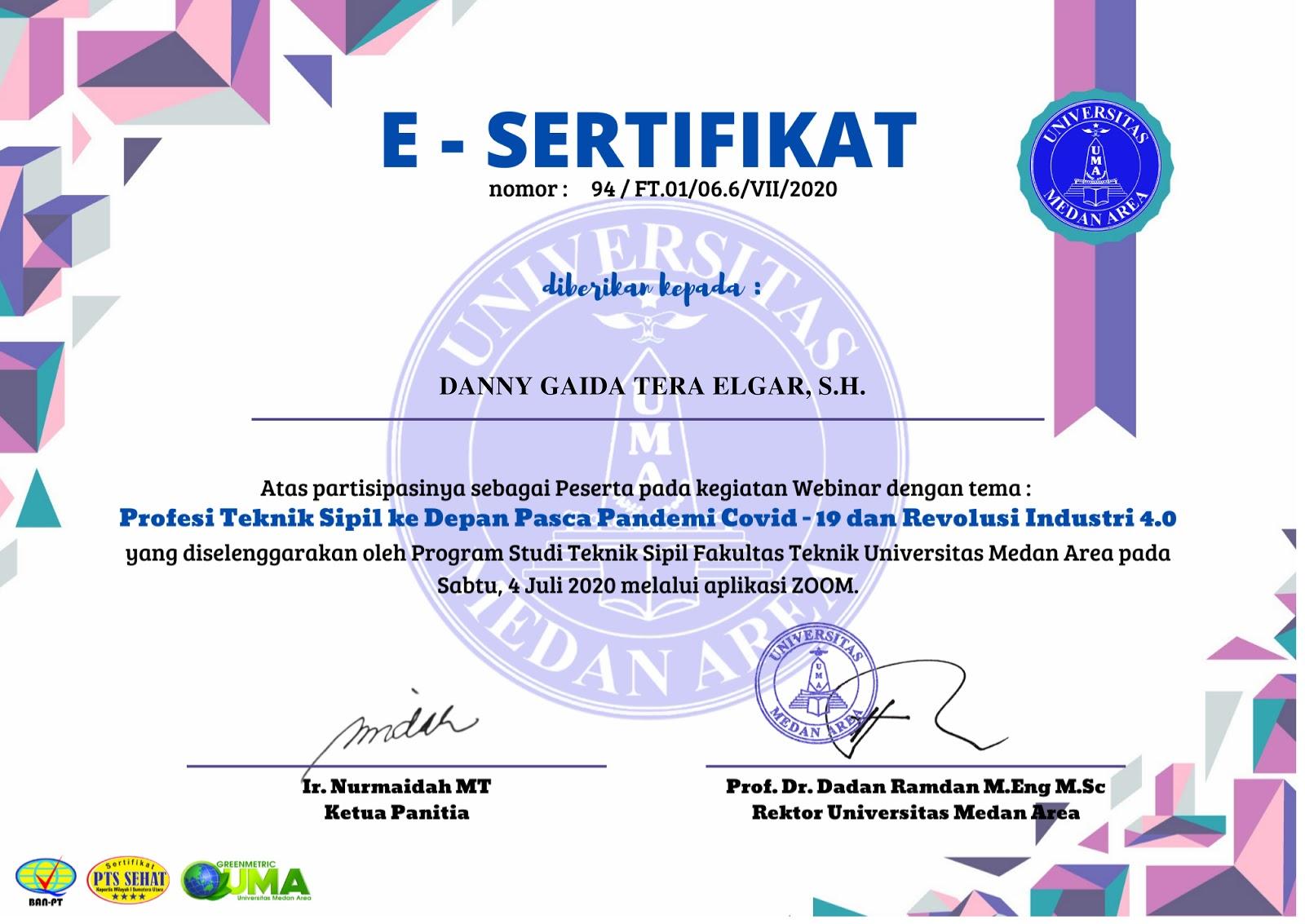 Sertifikat Profesi Teknik Sipil ke Depan Pasca Pandemi Covid-19 dan Revolusi Industri 4.0 | Universitas Medan Area (UMA) | Sabtu, 4 Juli 2020