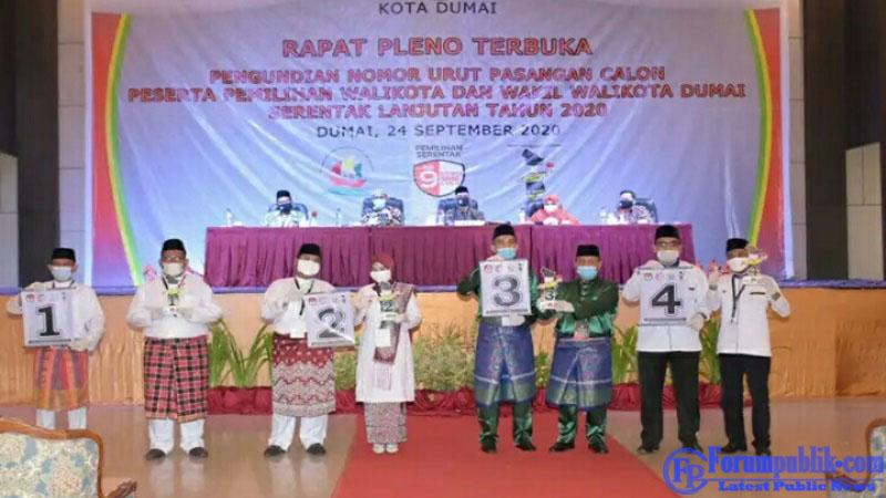 Pencabutan Nomor Urut Empat Paslon Walikota dan Wakil Walikota Dumai Berjalan Sukses