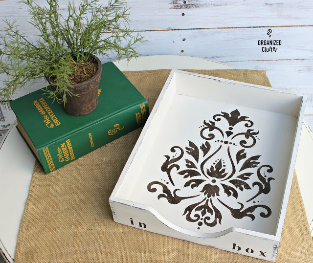 Photo of a wooden desk tray upcycled with paint and a stencil